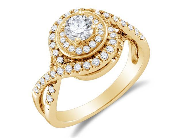 14K Yellow Gold Large Diamond Halo Crossover Engagement Ring - Solitaire Setting w/ Channel Set Round Diamonds (1.00 cttw, 2/5 ct Center, G - H Color, SI2 Clarity)