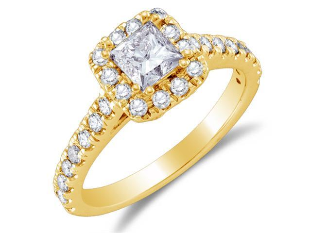 14K Yellow Gold Large Diamond Halo Engagement Ring - Solitaire Setting w/ Channel Set Princess Cut & Round Diamonds (1.00 cttw, .44 ct Center, G - H Color, SI2 Clarity)