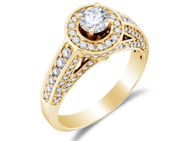 14K Yellow Gold Large Diamond Halo Engagement Ring - Solitaire Setting w/ Channel Set Round Diamonds (1.00 cttw, 2/5 ct Center, G - H Color, SI2 Clarity)