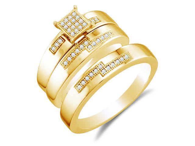 10K Yellow Gold Diamond Trio 3 Ring His & Hers Set - Square Princess Shape Center Setting w/ Micro Pave Set Round Diamonds - (.15 cttw, G-H, SI2) - SEE