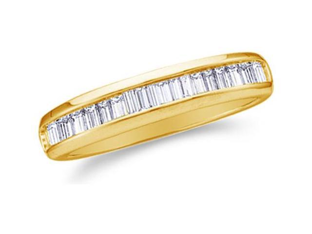 10K Yellow Gold Diamond Wedding Band Ring - w/ Channel Invisible Set Baguette Diamonds - (.15 cttw, G - H Color, SI2 Clarity)