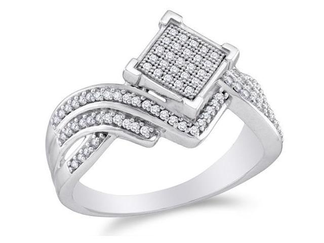 10K White Gold Diamond Cross Over Engagement OR Fashion Right Hand Ring Band - Square Princess Shape Center Setting w/ Micro Pave Set Round Diamonds - (1/3 cttw, G - H Color, SI2 Clarity)