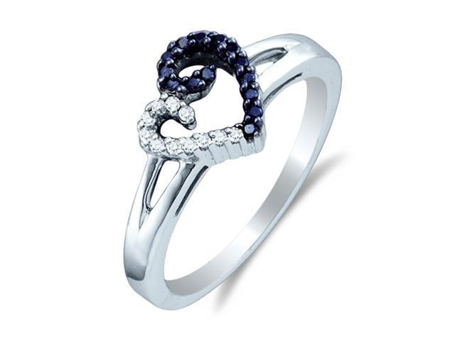 .925 Sterling Silver Plated in White Gold Rhodium White and Blue Diamond Engagement OR Fashion Right Hand Ring Band - Heart Shape Center Setting w/ Pave Set Round Diamonds - (1/6 cttw, G-H, SI2)