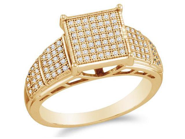 10K Yellow Gold Diamond Engagement Ring - Square Princess Shape Center Setting w/ Micro Pave Set Round Diamonds - (1/4 cttw, G - H Color, SI2 Clarity)