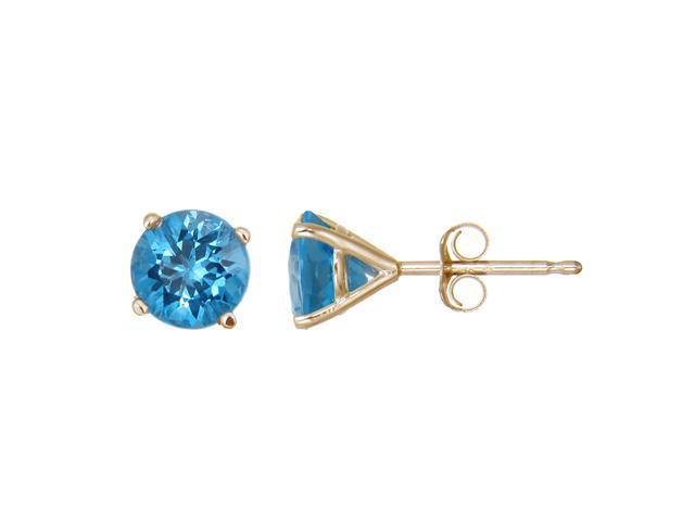 14K Yellow Gold Blue Topaz Stud Earrings (1.80 CT &#59; 6 MM Round Cut)