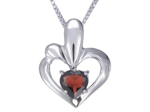 "Sterling Silver Garnet Heart Pendant (0.90 CT) With 18"" Chain"