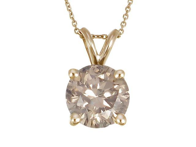 "14K Yellow Gold Champagne Diamond Solitaire Pendant (1/4 CT) With 18"" Chain"