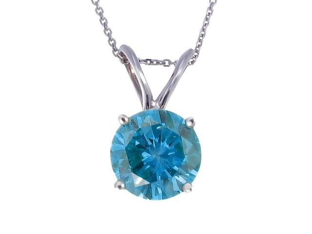 "14K White Gold Blue Diamond Solitaire Pendant (2 CT) With 18"" Chain"