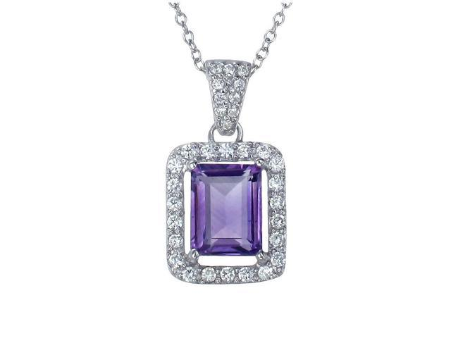 FineDiamonds9 P9646AA 3 ct 10x8 mm Emerald Shaped Natural Purple Amethyst Pendant In Sterling Silver With 18