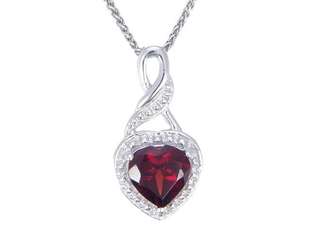 "FineDiamonds9 P18669GAR 1 CT Garnet Heart Pendant In Sterling Silver with 18"" Chain"