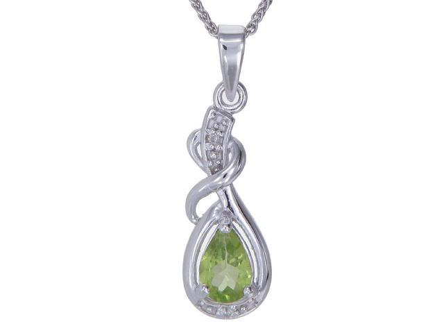 "Sterling Silver Peridot & Diamond Pendant With 18"" Chain"
