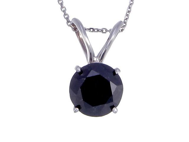 2 CT Black Diamond Solitaire Pendant in 14K White Gold with .925 Sterling Silver 18 Inch Chain