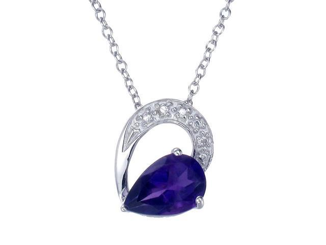 """Sterling Silver Amethyst Pendant (1.10 CT) With 18"""" Chain"""