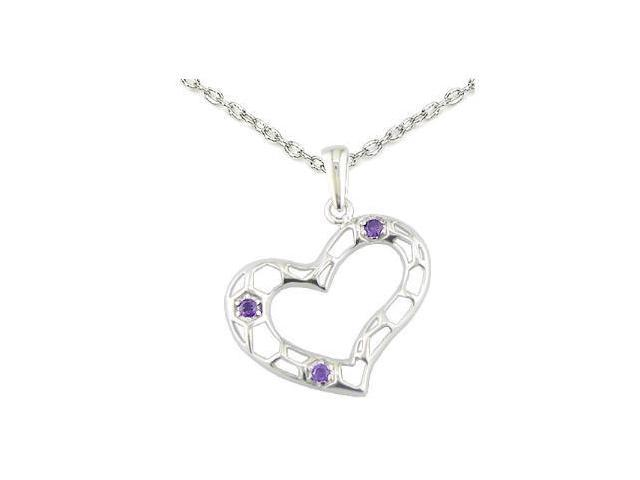 Sterling Silver Purple CZ Heart Pendant With 18 Inch Chain