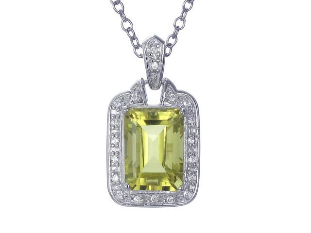 "6CT Emerald Cut Natural Lemon Quartz Pendant In Sterling Silver With 18"" Chain"
