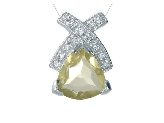 FineDiamonds9 P5160LQ 2CT Trillion Cut Natural Lemon Quartz Pendant In Sterling Silver With 18