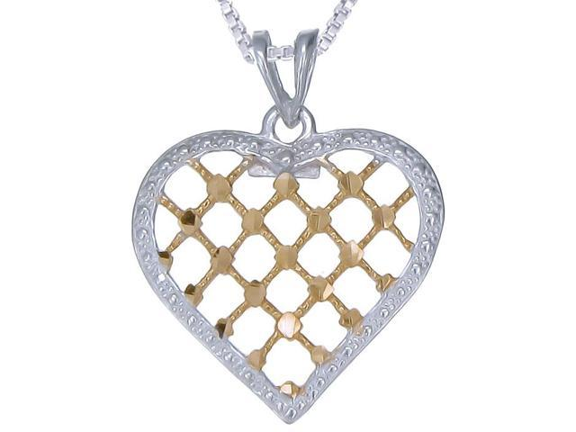 Yellow Gold Plated Sterling Silver Heart Pendant With 18 Inch Chain (1/2 Inch)