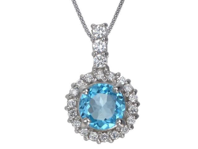 """FineDiamonds9 P3342BT 7MM 2 CT Blue Topaz Pendant In Sterling Silver With 18"""" Chain"""