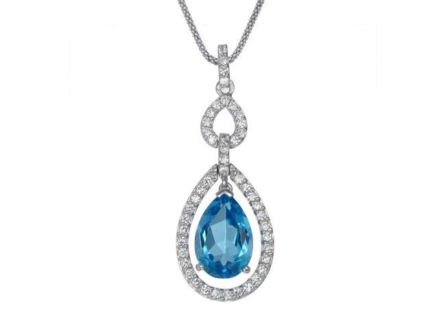 FineDiamonds9 P19385BT 6 cttw 15x10 mm Pear Shaped Natural Blue Topaz Pendant in Sterling Silver with 18