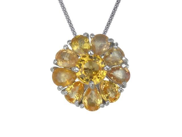 "Sterling Silver Yellow Sapphire Pendant (1.85 CT) With 18"" Chain"