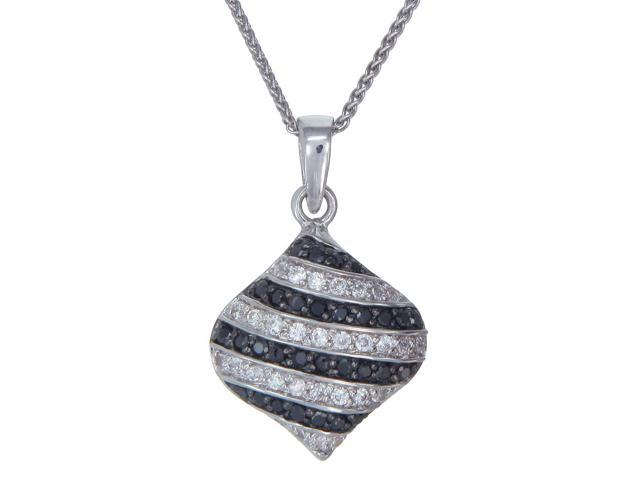 """Sterling Silver Black Diamond Pendant (0.90 CT) With 18"""" Chain"""