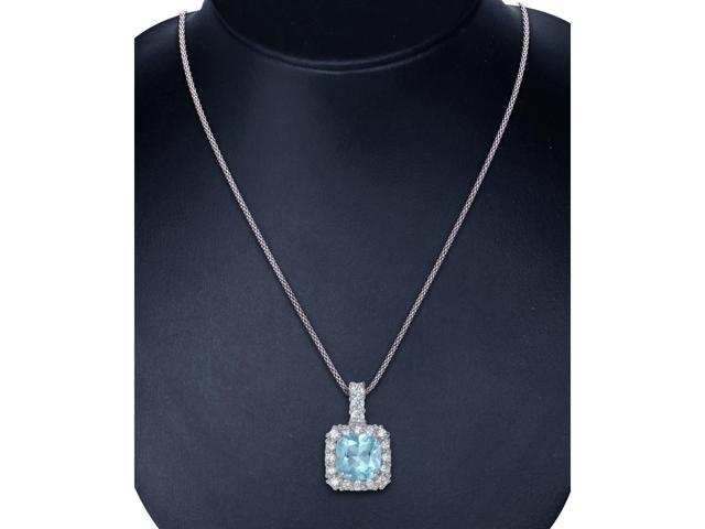 "Sterling Silver Blue Topaz Pendant (1.50 CT) With 18"" Chain"
