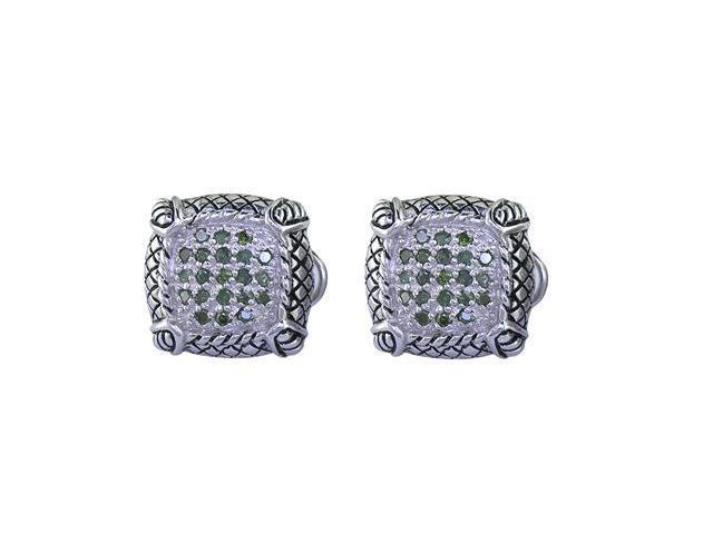 Sterling Silver Green Diamond Stud Earrings Antique Look (1/4 CT)