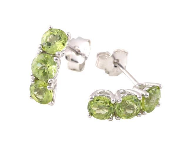 Sterling Silver 3 Stone Peridot Earrings (2.25 CT)