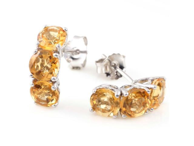 Sterling Silver 3 Stone Citrine Earrings (3.70 CT)