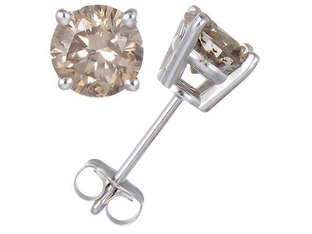 1/4 CT Champagne Diamond Stud Earrings 14k White Gold