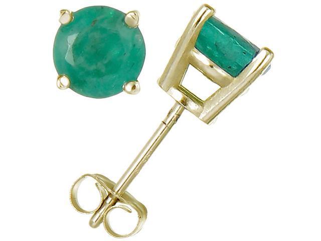 14K Yellow Gold Emerald Stud Earrings (1/2 CT)