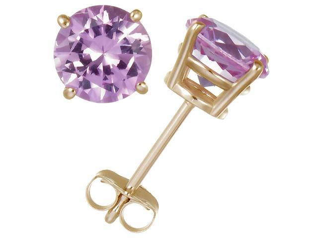 14K Yellow Gold Pink Sapphire Stud Earrings (1 CT)