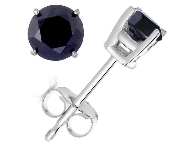 FineDiamonds9 1.50 CT Black Diamond Stud Earrings 14k White Gold