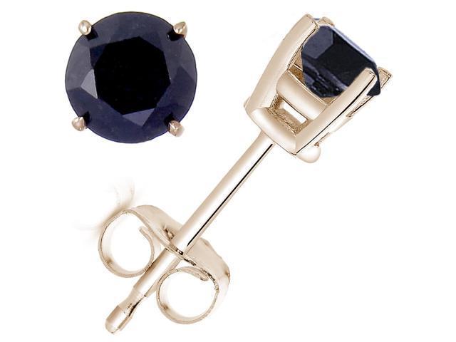3 CT Black Diamond Stud Earrings 14K Yellow Gold