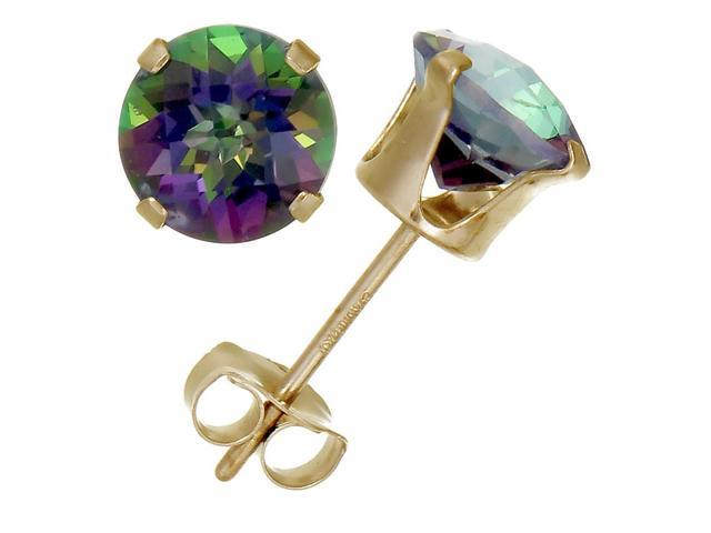 14K Yellow Gold Mystic Topaz Stud Earrings (1.80 CT ; 6 MM Round Cut)