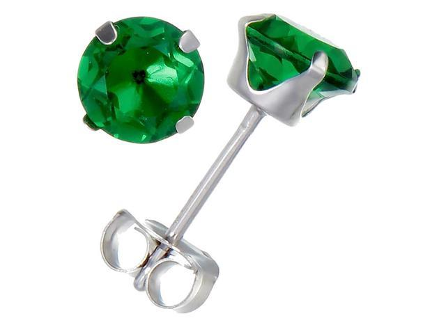 14K White Gold Created Emerald Stud Earrings (0.75 CT &#59; 5 MM Round Cut)
