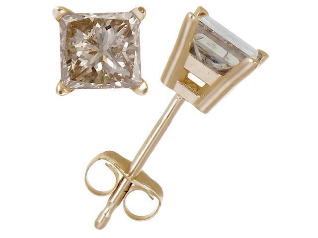 3/8 CT Princess Cut Champagne Diamond Stud Earrings 14k Yellow Gold