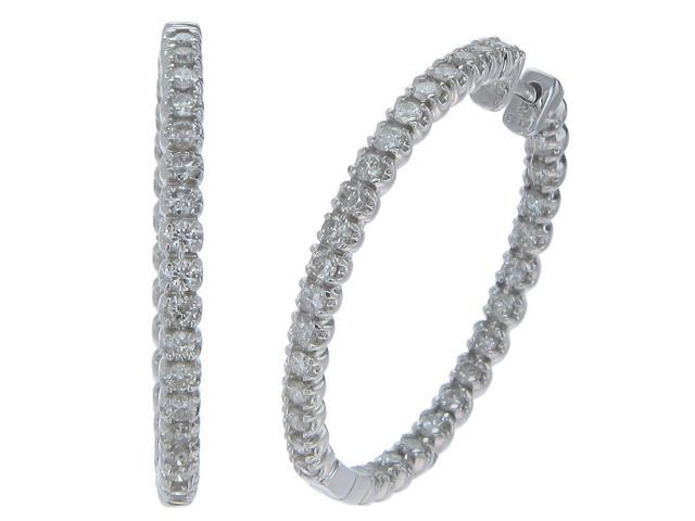 14K White Gold Diamond Inside-Out Hoop Earrings (2 CT)