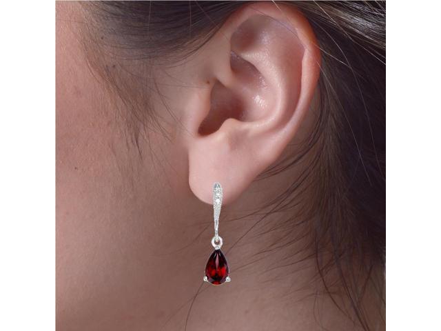 Sterling Silver Garnet Earrings (1.65 CT)