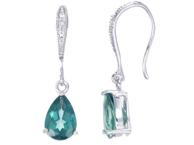 Sterling Silver Green Topaz Earrings (2 CT)