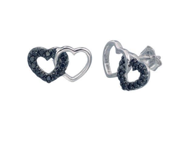 Sterling Silver Black Diamond Stud Earrings (1/4 CT)