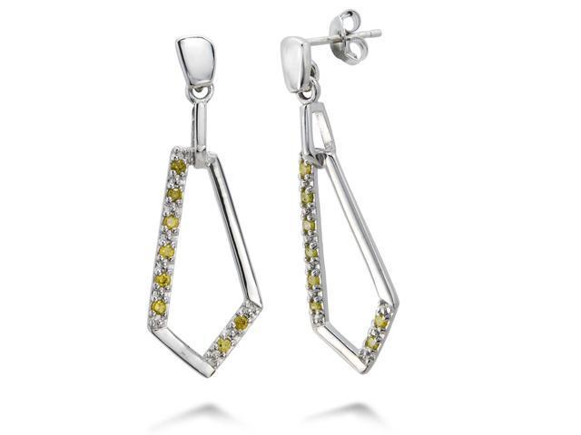 Sterling Silver Yellow Diamond Dangle Earrings (1/4 CT)
