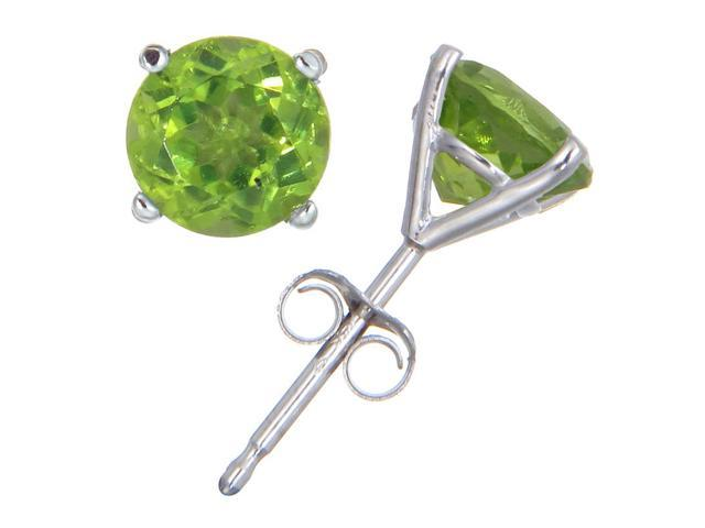 14K White Gold Peridot Stud Earrings (1.80 CT ; 6 MM Round Cut)