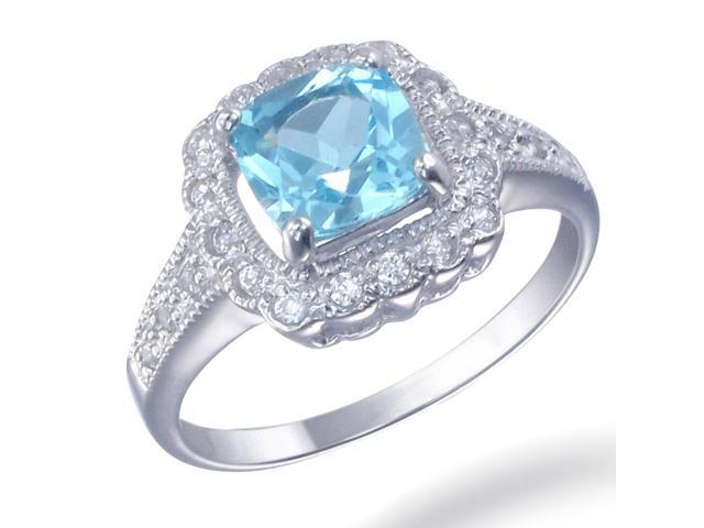 Sterling Silver Blue Topaz Ring (1.40 CT) In Size 5