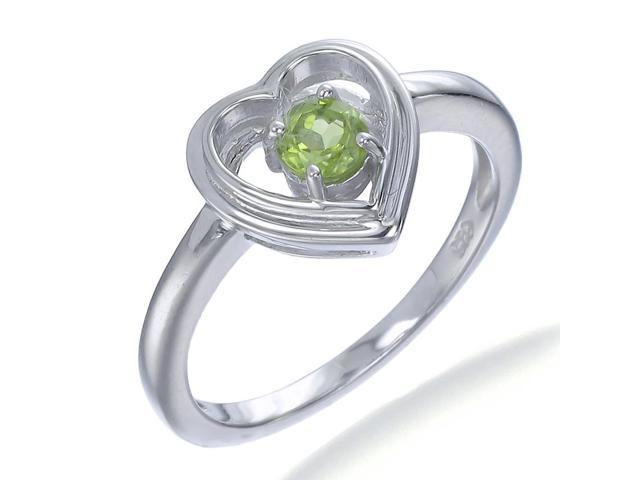 Sterling Silver Peridot Heart Ring (1/4 CT) In Size 7
