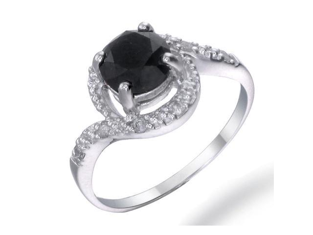Sterling Silver Black Diamond Ring (2 CT) In Size 7