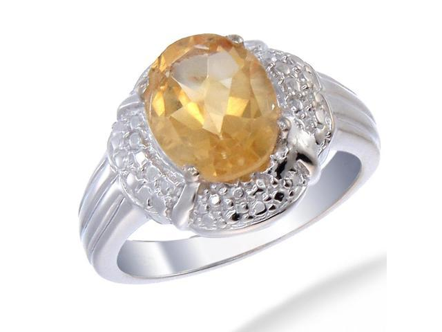 Sterling Silver Citrine Ring (2 CT) In Size 9