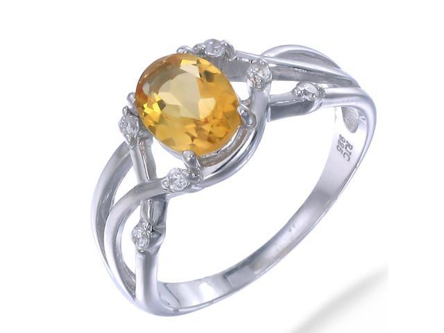 Sterling Silver Citrine Ring (0.80 CT) In Size 7