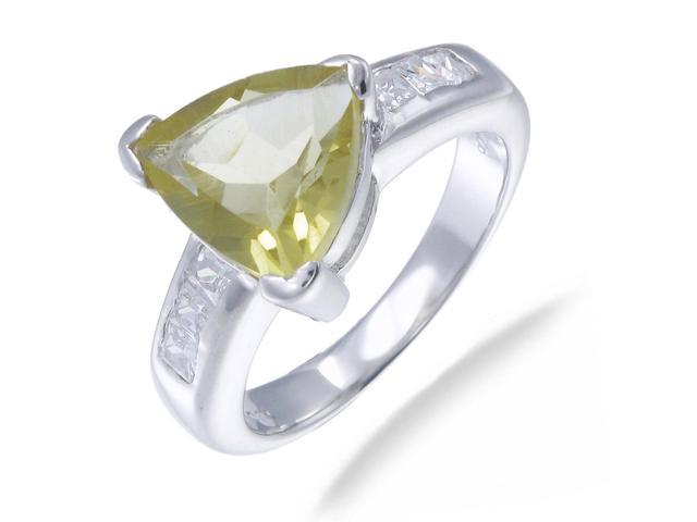 Sterling Silver Lemon Quartz Ring (1 CT) In Size 9