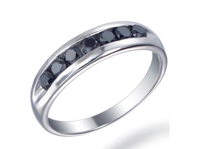 Sterling Silver Men's Black Diamond Wedding Band (1 CT) In Size 10
